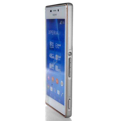 Coverzone Sony Xperia Z3 Kılıf Metalik Görünümlü Çerçeve + Temperli Cam