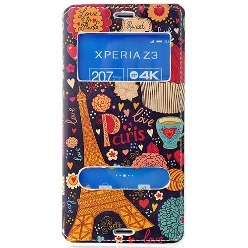 Coverzone Sony Xperia Z3 Kılıf Çift Pencereli Kapaklı Paris + Temperli Cam