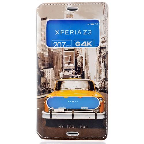 Coverzone Sony Xperia Z3 Kılıf Çift Pencereli Kapaklı New York Taxi + Temperli Cam