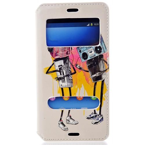 Coverzone Sony Xperia Z3 Kılıf Çift Pencereli Kapaklı Radyo + Temperli Cam