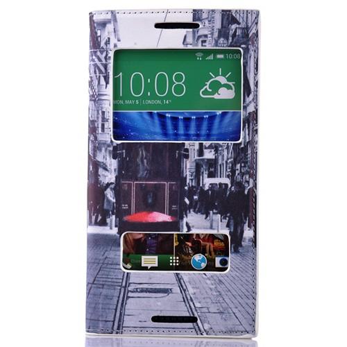 Coverzone Htc Desire 820 Kılıf Kapaklı Resimli Taksim Tramvay + Temperli Cam