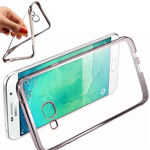 Coverzone Samsung Galaxy J5 Kılıf Silikon Kenarı Renkli Transparan