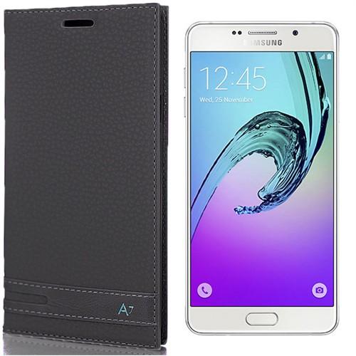 Coverzone Samsung Galaxy A7 Kılıf 2016 A710 Kapaklı Deri Elite