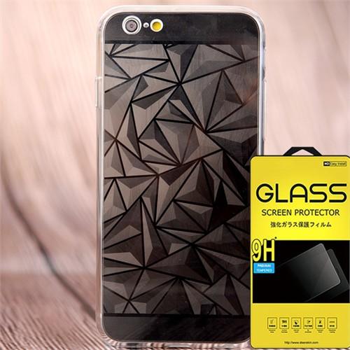 Coverzone Apple iPhone 6 - 6S Kılıf Silikon Prizma Desen + Kırılmaz Cam