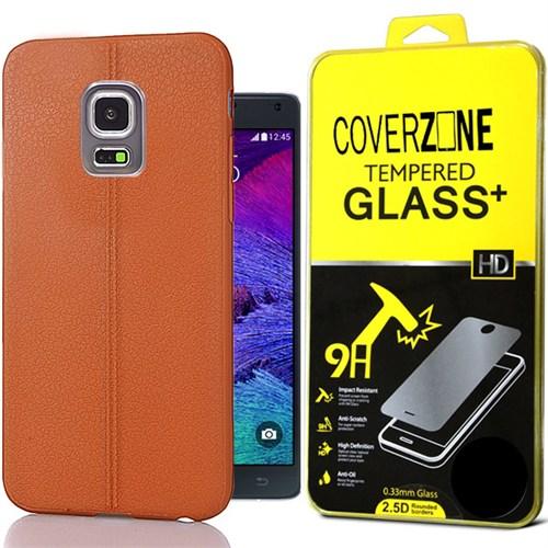 Coverzone Samsung Galaxy Note 4 Kılıf Deri Silikon + Kırılmaz Cam