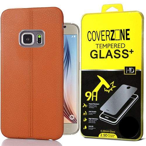 Coverzone Samsung Galaxy S6 Kılıf Deri Dizayn Silikon + Kırılmaz Cam