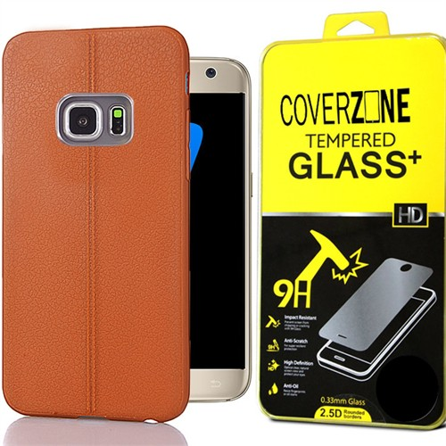 Coverzone Samsung Galaxy S7 Edge Kılıf Deri Silikon + Kırılmaz Cam