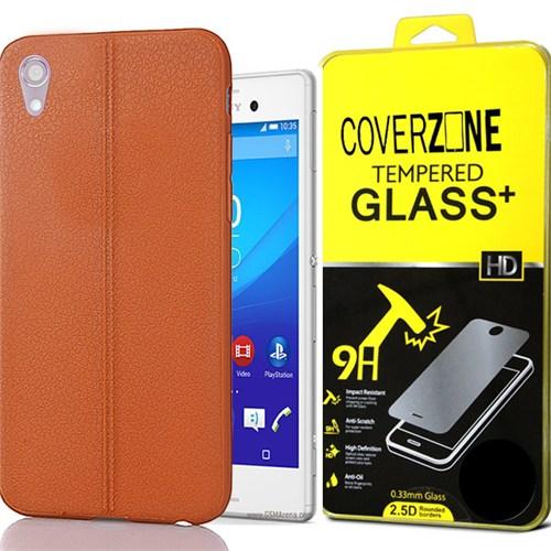 Coverzone Samsung Xperia M4 Aqua Kılıf Deri Silikon + Kırılmaz Cam