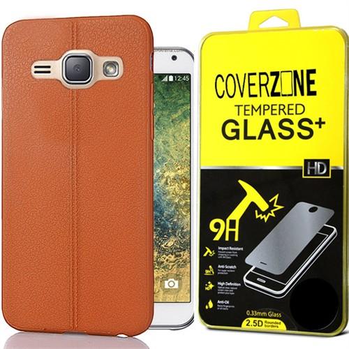Coverzone Samsung Galaxy E7 Kılıf Deri Silikon + Kırılmaz Cam