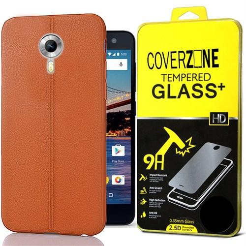 Coverzone General Mobile One 4G Kılıf Deri Silikon + Kırılmaz Cam