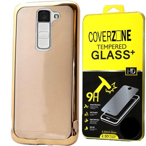 Coverzone Lg K10 Kılıf Silikon Metalize Kenar + Kırılmaz Cam