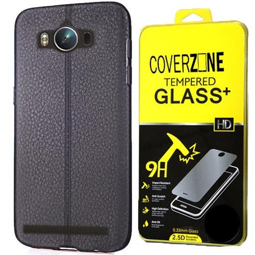 Coverzone Asus Zenfone Max Kılıf Zc550kl Silikon Deri Görünüm + Kırılmaz Cam