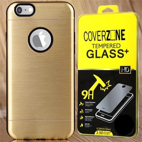 Coverzone Apple iPhone 6 Plus 6S Plus Kılıf Sert Koruma Kapak + Kırılmaz Cam