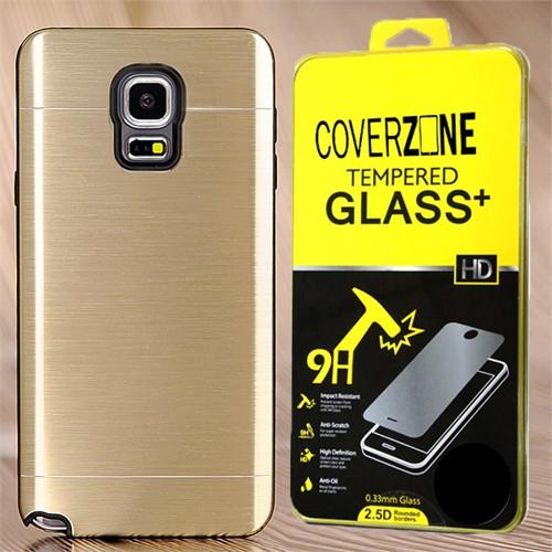 Coverzone Samsung Galaxy Note 4 Kılıf Sert Koruma Kapak + Kırılmaz Cam