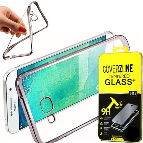 Coverzone Samsung Galaxy A9 Kılıf Silikon Kenarı Renkli Transparan + Kırılmaz Cam