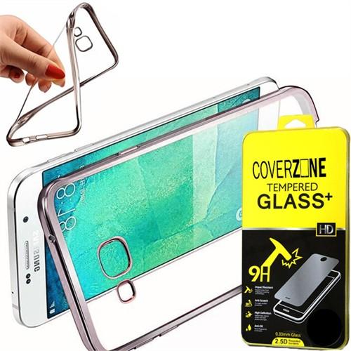 Coverzone Samsung Galaxy E7 Kılıf Silikon Kenarı Renkli Transparan + Kırılmaz Cam