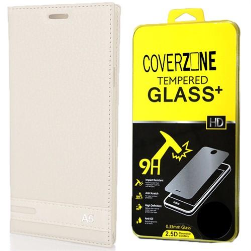 Coverzone Samsung Galaxy A5 Kılıf 2016 A510 Kapaklı Deri Elite + Kırılmaz Cam