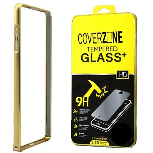 Coverzone Samsung Galaxy A5 Kılıf 2016 A510 Aliminyum Bumper + Kırılmaz Cam