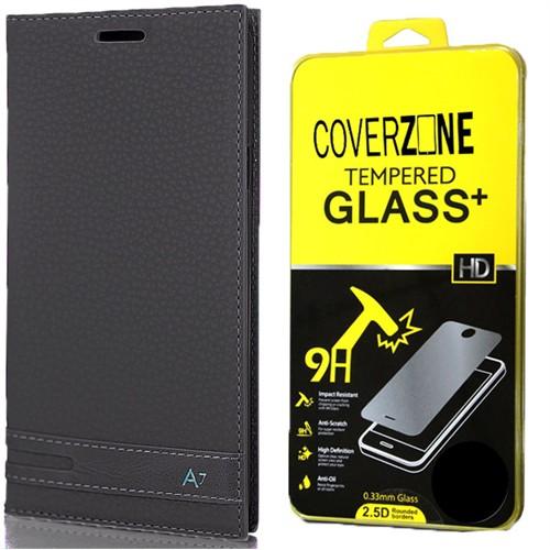 Coverzone Samsung Galaxy A7 Kılıf 2016 A710 Kapaklı Deri Elite + Kırılmaz Cam