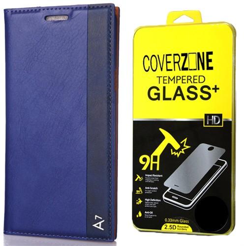 Coverzone Samsung Galaxy A7 Kılıf 2016 A710 Milano Deri Kapaklı + Kırılmaz Cam