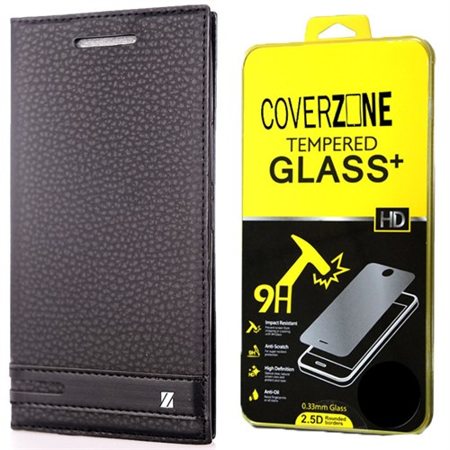Coverzone Microsoft Lumia 550 Kılıf Elite Deri Kapaklı + Kırılmaz Cam