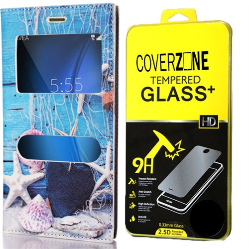 Coverzone Samsung Galaxy A7 Kılıf 2016 A710 Deniz Kabuğu Desenli Kapaklı + Kırılmaz Cam