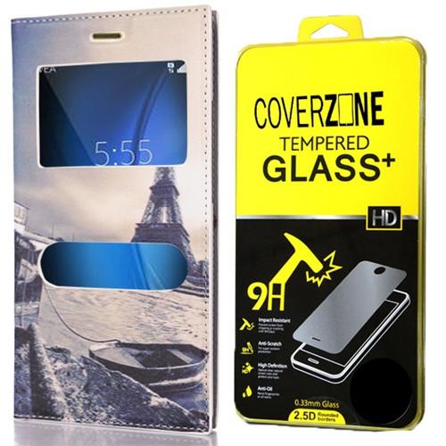 Coverzone Samsung Galaxy A7 Kılıf 2016 A710 Paris Eyfel Desenli Kapaklı + Kırılmaz Cam