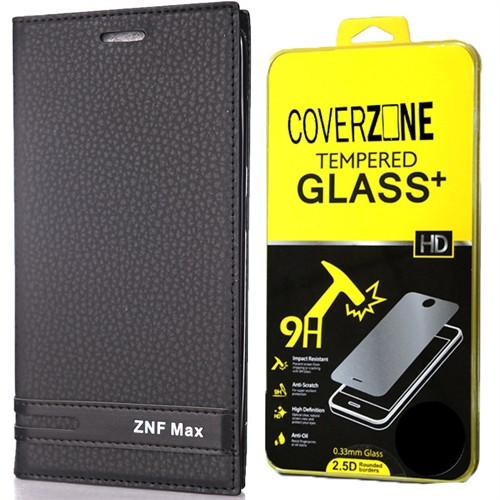 Coverzone Asus Zenfone Max Kılıf Zc550kl Kapaklı Süet Yüzey + Kırılmaz Cam