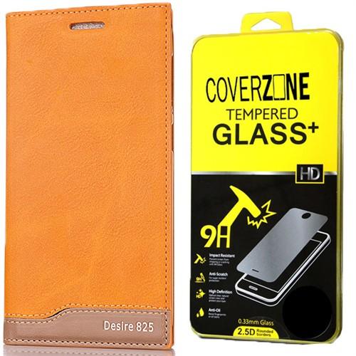 Coverzone Htc Desire 825 Kılıf Magnum Vip Deri Kılıf + Kırılmaz Cam