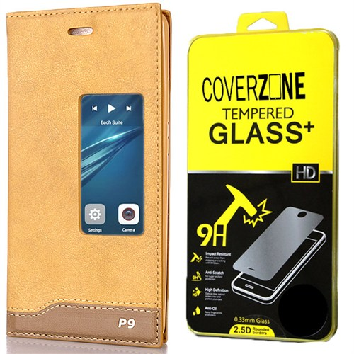 Coverzone Huawei P9 Kılıf Magnum Vip Deri Kılıf + Kırılmaz Cam