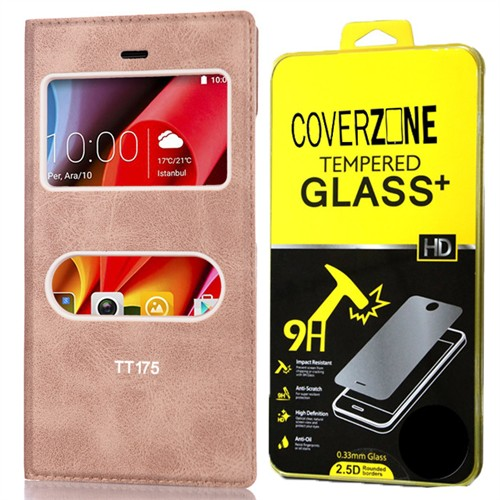 Coverzone Türk Telekom Tt175 Kılıf Çift Pencereli Delüx + Kırılmaz Cam