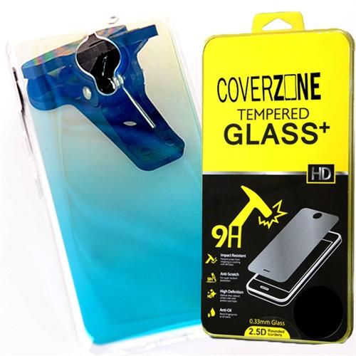 Coverzone General Mobile Gm5 Plus Kılıf Gökkuşağı Silikon + Kırılmaz Cam