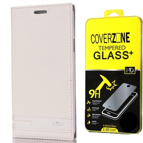 Coverzone Samsung Galaxy A3 Kılıf 2016 A510 Kapaklı Deri Elite + Temperli Cam