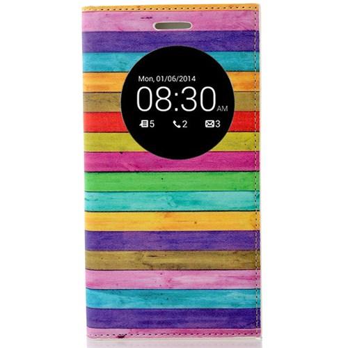 Coverzone Asus Zenfone 5 Lite Kılıf Resimli Kapaklı Pencereli Renkli Çizgiler