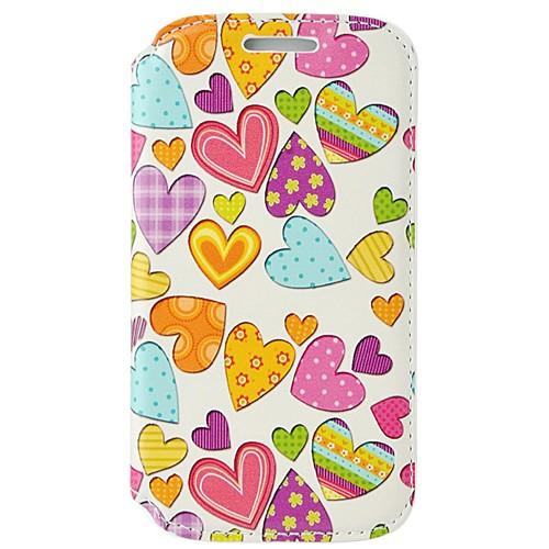 Coverzone Samsung Galaxy Ace 4 Kılıf Resimli Kapaklı Renkli Kalpler