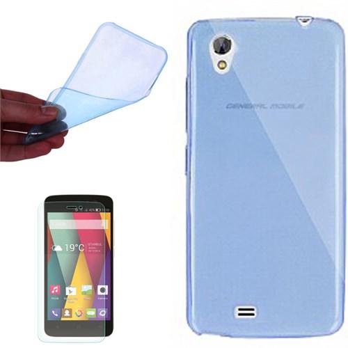 Cep Market General Mobile Discovery 2 Mini Kılıf 0.2Mm Mavi Silikon - Kırılmaz Cam
