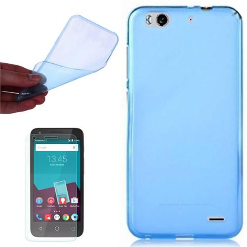 Cep Market Vodafone Smart 6 Kılıf 0.2Mm Mavi Silikon - Kırılmaz Cam