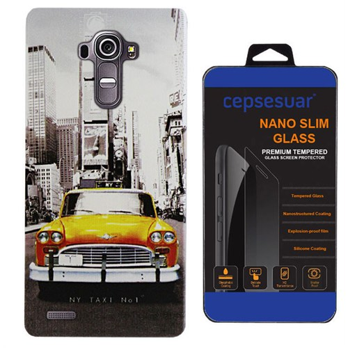 Cepsesuar Lg G4 Kılıf Silikon Desenli Taksi - Kırılmaz Cam