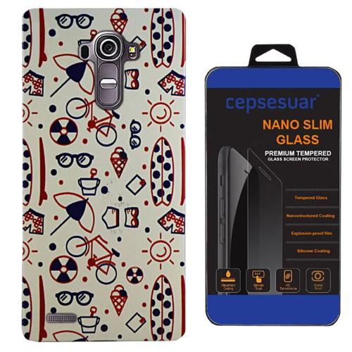 Cepsesuar Lg G4 Kılıf Silikon Desenli Tatil - Kırılmaz Cam