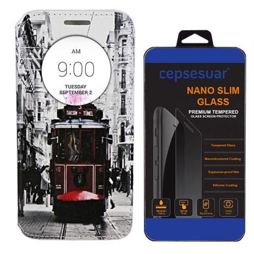Cepsesuar Lg G4 Stylus Kılıf Standlı Tramvay - Kırılmaz Cam