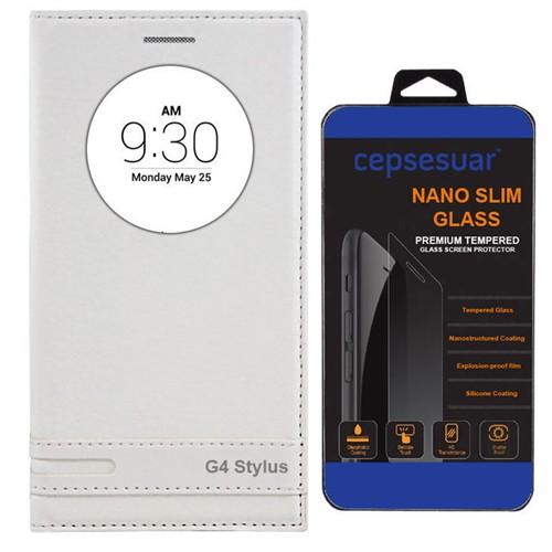Cepsesuar Lg G4 Stylus Kılıf Elite Kapaklı Beyaz - Kırılmaz Cam