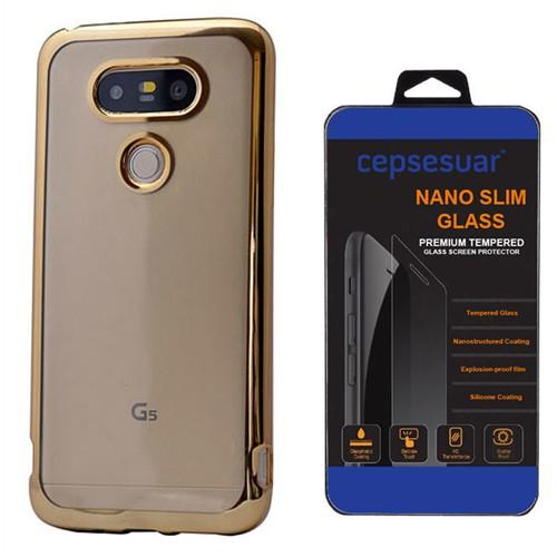 Cepsesuar Lg G5 Kılıf Silikon Lazer Gold - Kırılmaz Cam