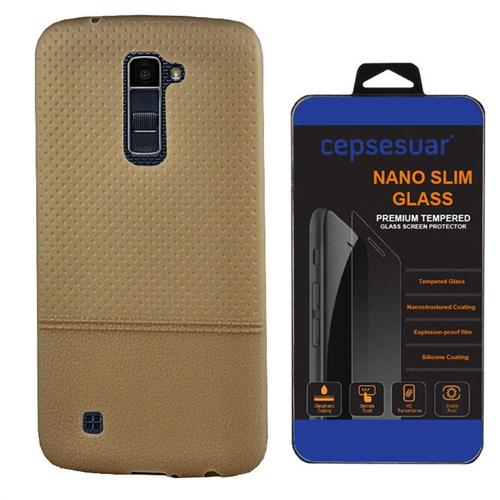Cepsesuar Lg K10 Kılıf Silikon Matrix Gold - Kırılmaz Cam