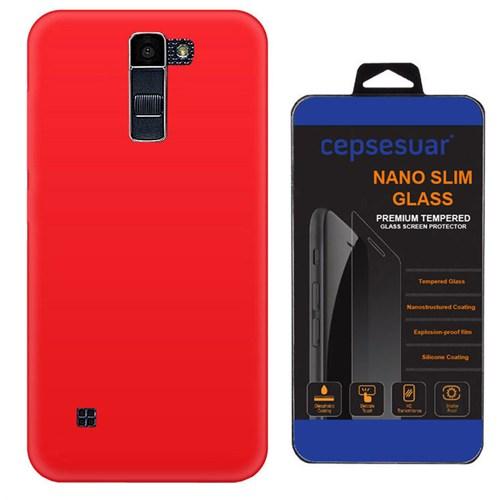 Cepsesuar Lg K10 Kılıf Silikon Kırmızı - Kırılmaz Cam