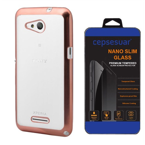 Cepsesuar Sony Xperia E4g Kılıf Silikon Lazer Gold - Kırılmaz Cam