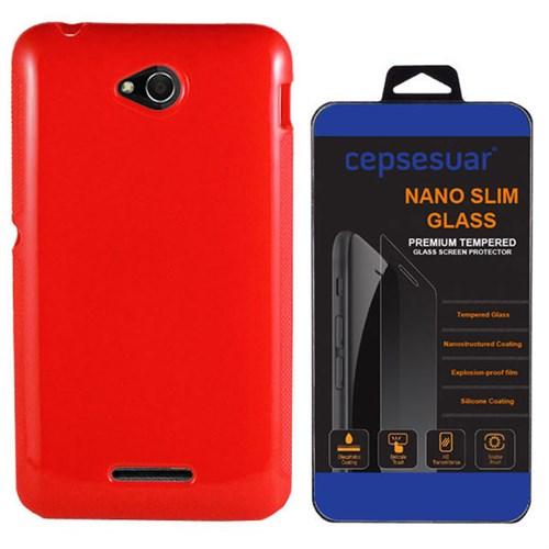 Cepsesuar Sony Xperia E4g Kılıf Silikon Kırmızı - Kırılmaz Cam