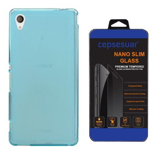 Cepsesuar Sony Xperia M4 Aqua Kılıf Silikon 0.2 Mm Mavi - Kırılmaz Cam