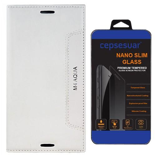 Cepsesuar Sony Xperia M4 Aqua Kılıf Kapaklı Lotus Beyaz - Kırılmaz Cam