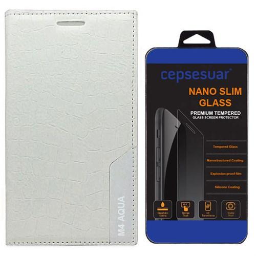 Cepsesuar Sony Xperia M4 Aqua Kılıf Rock Kapaklı Beyaz - Kırılmaz Cam