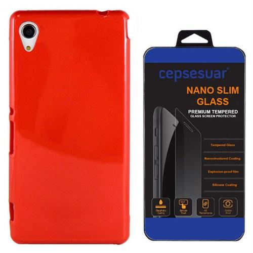 Cepsesuar Sony Xperia M4 Aqua Kılıf Silikon Kırmızı - Kırılmaz Cam